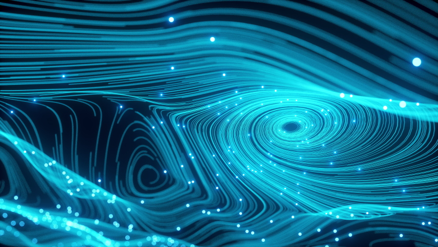 The Perfect Spherical Movement of the fiber optic Information Stream. Neon Balls with Dust of the Universe with Stars on a Waving Curves. Motion of Abstract Particles Shot. 3d Animation VJ Footage