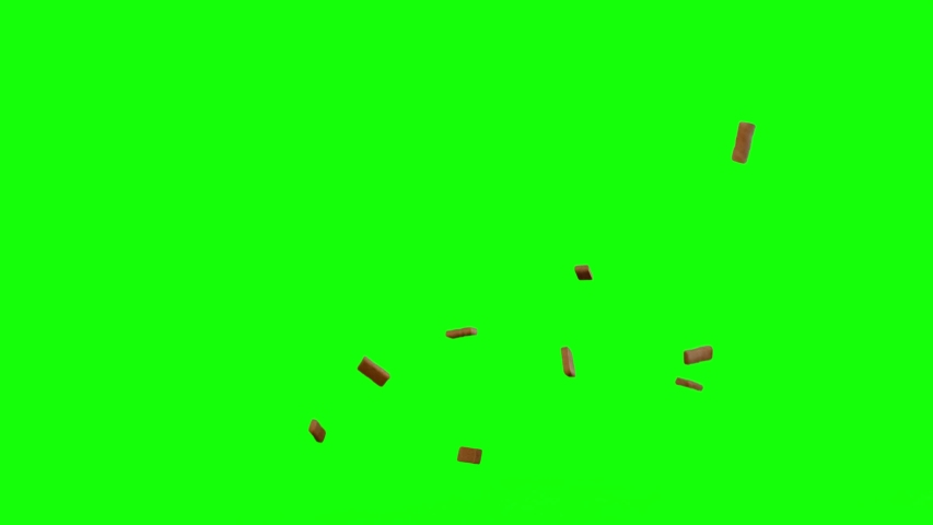 Brick Debris in top and side views, brick greenscreen, Destruction Falling and flowing bricks Debris Green Screen, explode, explosion, fall apart, use in movies, Destruction Fall Bricks, wall explode | Shutterstock HD Video #1030268222