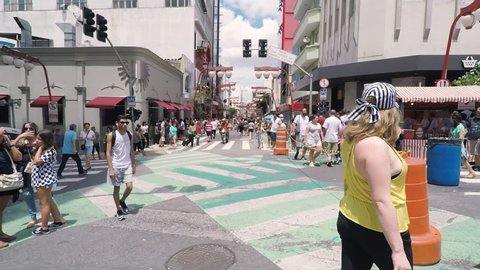 Sao Paulo SP, Brazil - March 03, 2019: People at the stores and commerce on the Galvao Bueno street, at Liberdade neighborhood. Street with japanese thematic, oriental decorations. Tourist spot.