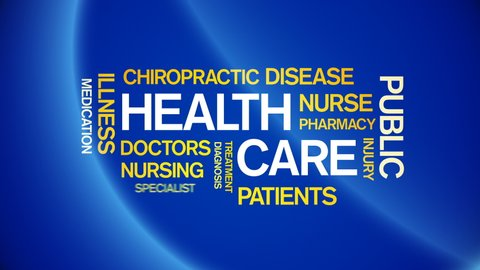 4k Health Care Animated Tag Word Cloud,Text Design Animation,Kinetic Typography.