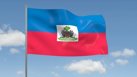 3D rendering: flag of Haiti waving on the background of blue sky with clouds