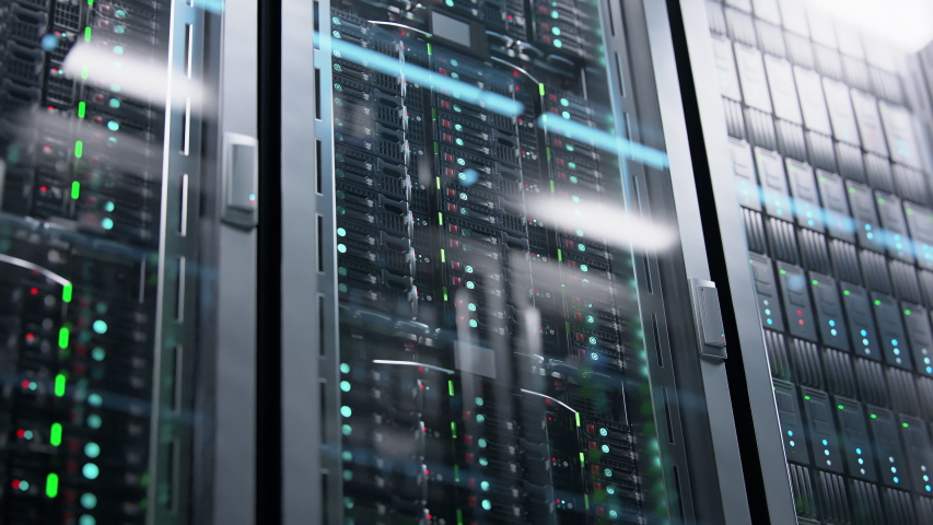 Camera moving in data center along the racks with server equipment, close up view. Seamlessly looped photorealistic 3D render animation. | Shutterstock HD Video #1030352282