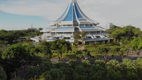 "Kuching, Malaysia - May 2019. aerial view of ""Majlis Bandaraya Kuching Selatan"" building. Located near Padungan Road The Council of the City of Kuching South is the city council"