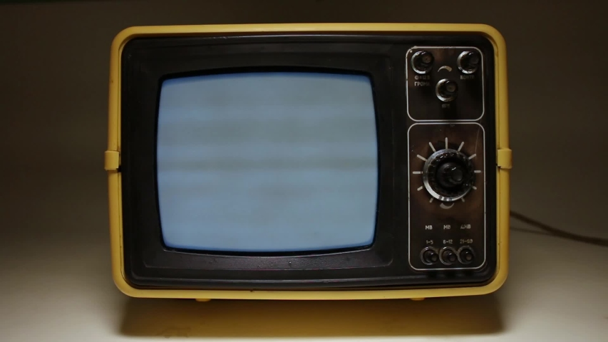 The Man's Hand Adjusts Vintage Black And White TV In The Dark. | Shutterstock HD Video #1030518362