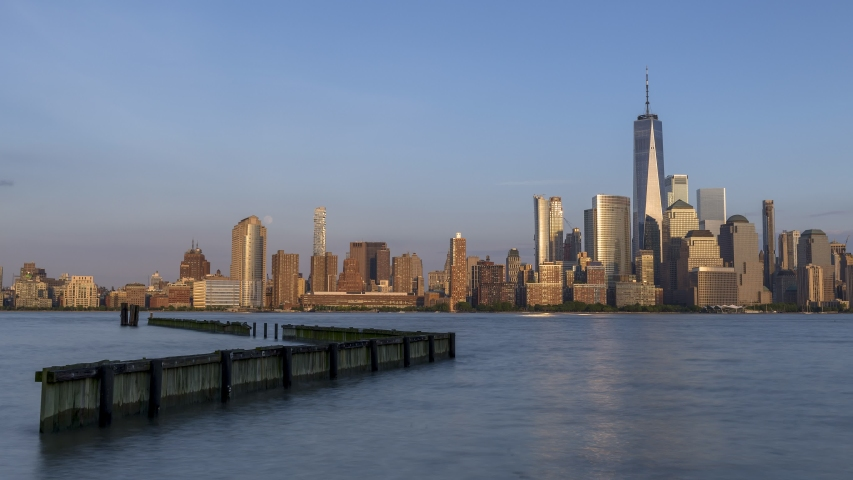 Moon rise time lapse over Financial District from Hudson river | Shutterstock HD Video #1030553612