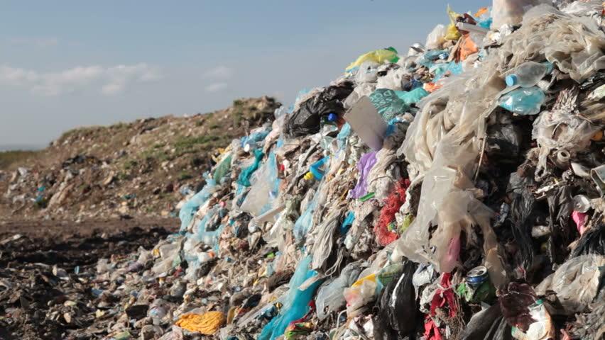 stock video of landfill garbage