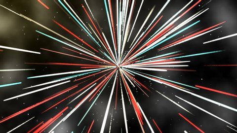 Colorful glow light line Space Travel Through Stars Trails, Abstract Hyperspace Jump. Digital Design Concept.