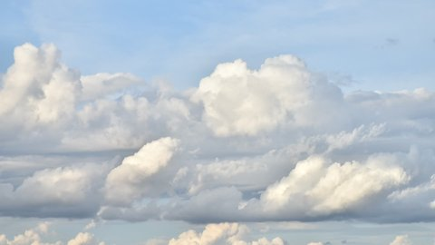 The beautiful on movement of clouds sky blue TIME LAPSE with animation background view. Puffy fluffy white clouds blue sky time lapse on happy day. Full HD 1080p. Frame rate 25fps. 25 Frame/1 second.