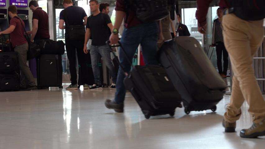 BANGKOK, THAILAND - MAY 26, 2019: Passengers arrive at check-in counters at Suvarnabhumi Airport, Bangkok, Thailand. Suvarnabhumi Airport it one of the biggest international airports in Southeast Asia | Shutterstock HD Video #1030727312