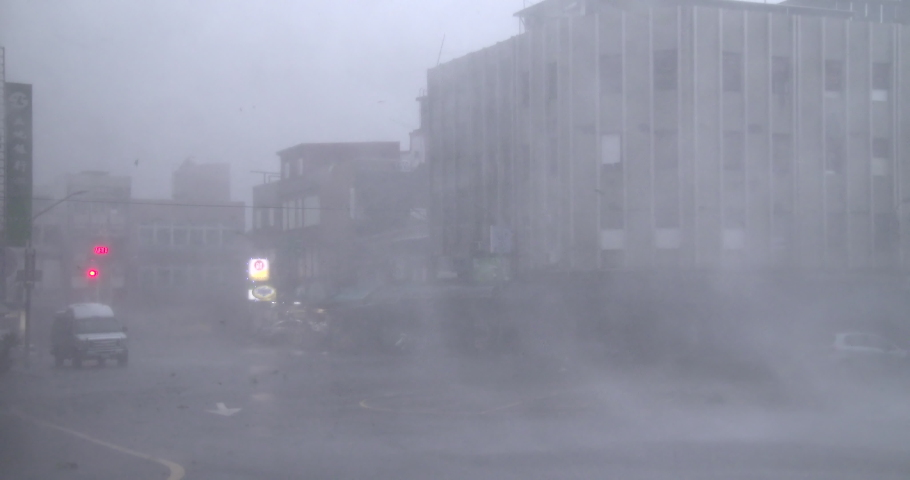 SUAO, TAIWAN - OCTOBER 2015: Violent Wind Flying Debris Hit City As Hurricane Eyewall Makes Landfall - Dujuan