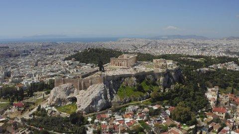 Parthenon, Acropolis, Athens, Greece. Drone shot / bird's eye aerial view.
