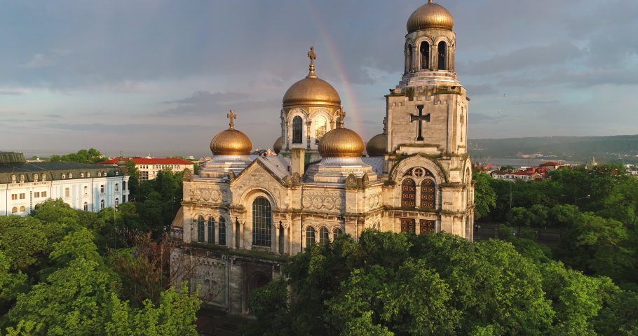 Aerial view of The Cathedral of the Assumption in Varna, Bulgaria. Beautiful rainbow over the city.
