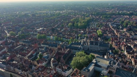 Aerial view of cityscape of Bruges, historic center of city - landscape panorama of Belgium from above, Europe