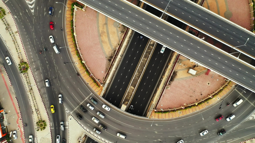 Aerial view Expressway motorway highway circus intersection at Day time Top view , Road traffic in city at thailand. | Shutterstock HD Video #1030965602