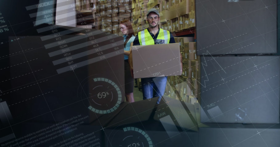 Digital composite of front view of a warehouse worker loading packages in the back of a delivery van. Behind him is a manager passing him the packages | Shutterstock HD Video #1030971422