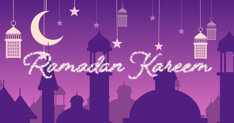 Digitally generated animation of a silver glitter Ramadan kareem greeting with a purple background of mosque silhouettes and white lanterns hanging with yellow stars and moon in white