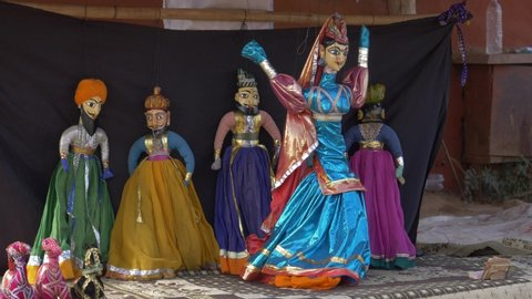 Udaipur/India - 10.02.2019 Indian dancing marionettes