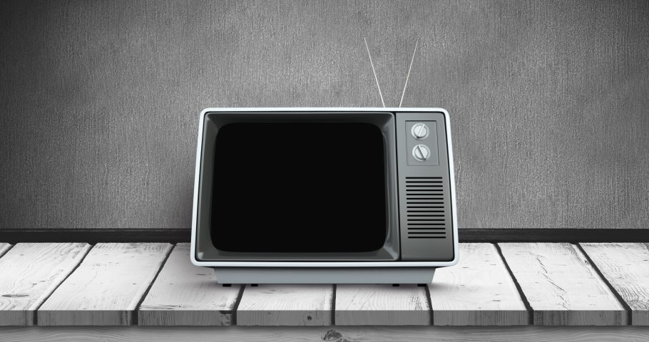 Digital animation of an old television with static placed on a wooden deck 4k | Shutterstock HD Video #1031107982