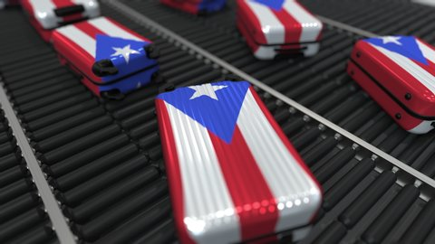 Many travel suitcases featuring flag of Puerto Rico on roller conveyer. Puerto Rican tourism conceptual animation