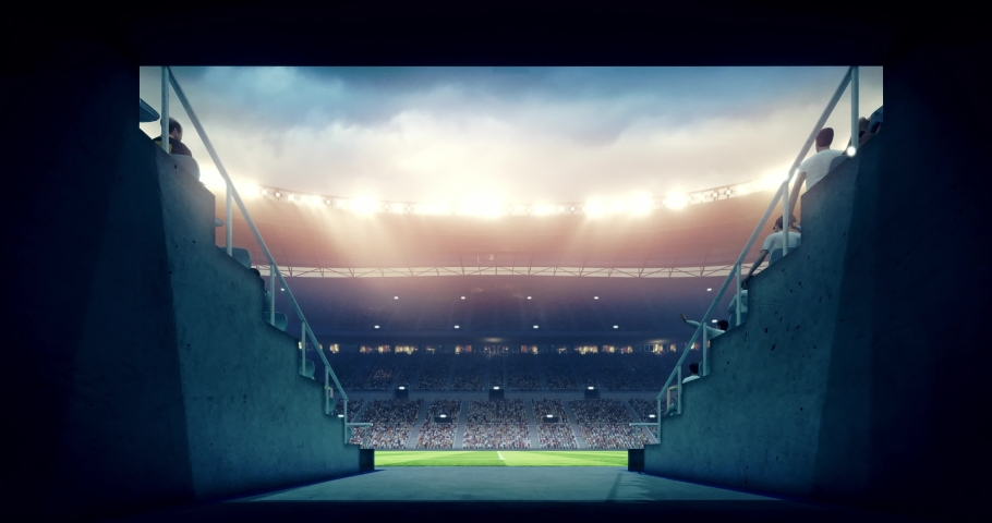 4k footage of a professional soccer stadium. The stadium was made in 3d without using existing references. | Shutterstock HD Video #1031169122