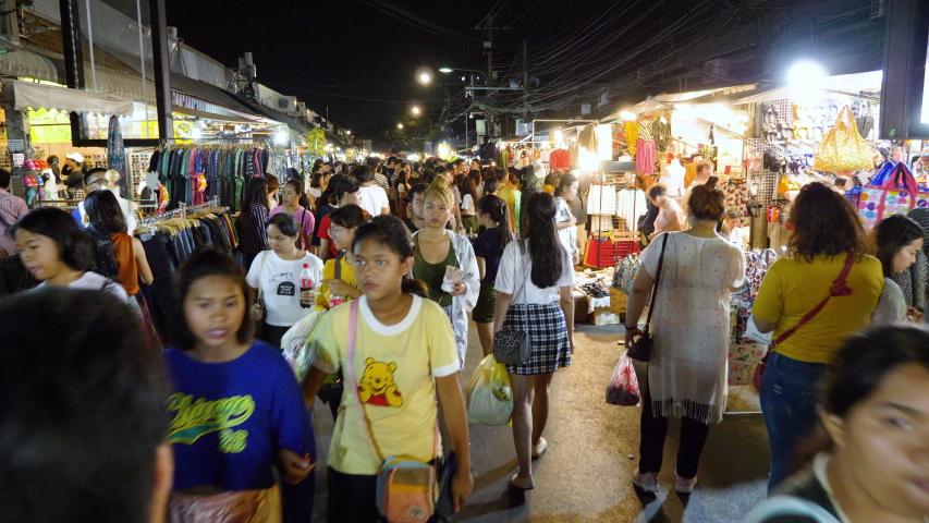 Hyperlapse fast moving of Chatuchak Weekend Market street downtown Bangkok City Thailand or JJ Market. People walking in night market street one of the most representative streets in Bangkok. | Shutterstock HD Video #1031195012