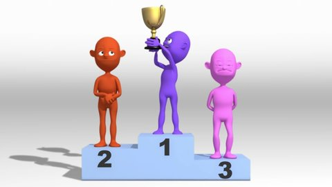 Animated character in 3D, monito, rising to the first place on the podium, lifting the trophy and celebrating while the second and third place watch him.