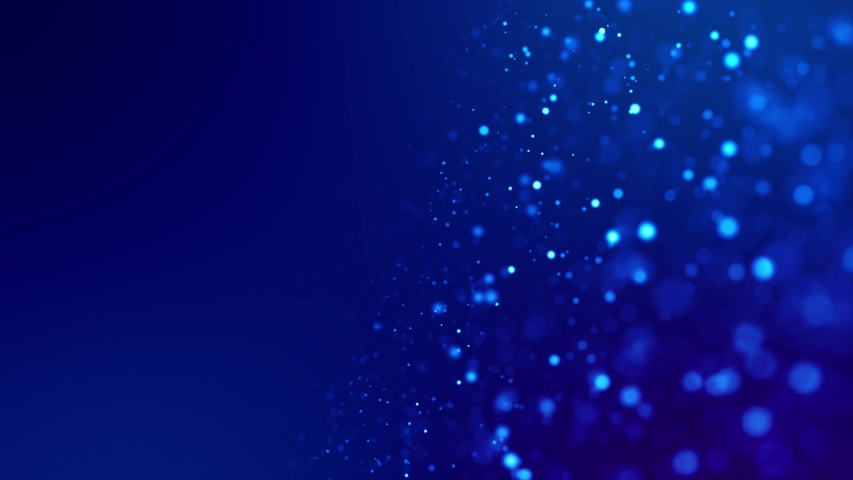 Magic blue glowing particles flow in viscous liquid and bright glisten. Science fiction. 4k 3d sci-fi background with glittering particles, depth of field and bokeh. Luma matte as alpha channel. 17 | Shutterstock HD Video #1031279252