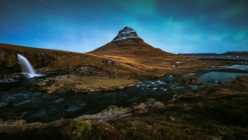 4K Timelapse of Aurora Borealis (Northern lights) over Kirkjufell mountain, Iceland  | Shutterstock HD Video #1031321642