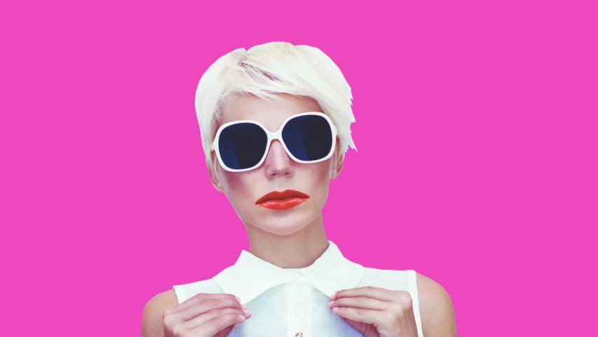 Gif animation design. Blonde in fashion accessories. Sunglasses #1031485802