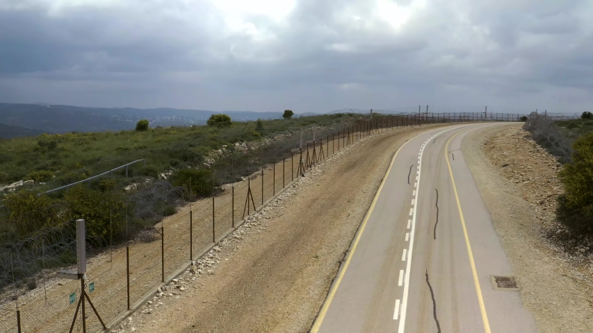 Israel security border fence 4k drone aerial  | Shutterstock HD Video #1031497892