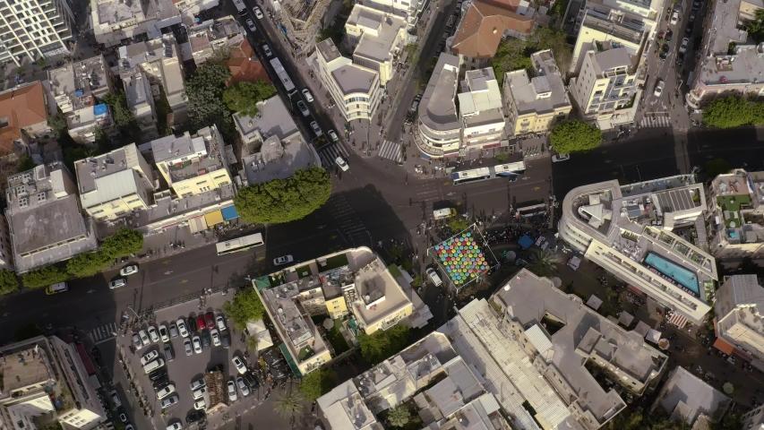 Tel Aviv city center, roads and traffic, Israel, aerial skyline 4k  | Shutterstock HD Video #1031498882