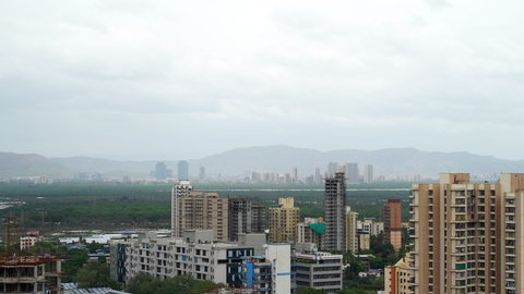 Mumbai, India : June 12, 2019 : Mumbai skyline with dark clouds, Maharashtra, India.