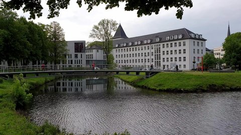 MOERS/ GERMANY - JUNE 16 2019 : The new town hall ist located close to the river.