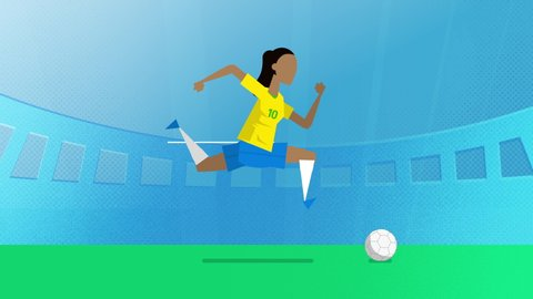 Brazil female world cup soccer player running with a ball in a stadium. Loopable clip in 4K with alpha channel to use player on different backgrounds