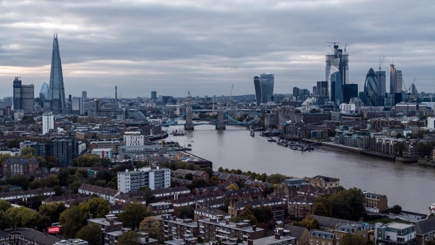 Establishing Aerial View of London Skyline, The City of London, United Kingdom | Shutterstock HD Video #1031908502