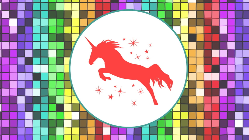 Animation of an orange unicorn surrounded with orange stars and enclosed in a white circle on a background of moving colorful pixels | Shutterstock HD Video #1031919152