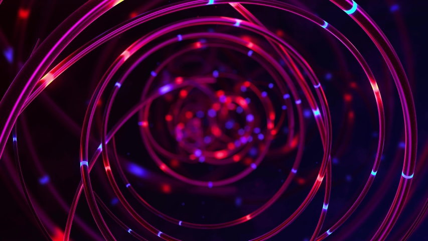3d render, Abstract technology background in purple colors. Fiber optic cables with glowing elements. Distribution of the light signal. Depth of field. Data Communication on Optical Fibers Cable. Loop #1032119192