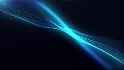 Generate Abstract particle wave form animation on black background.4K motion graphic screen saver seamless.
