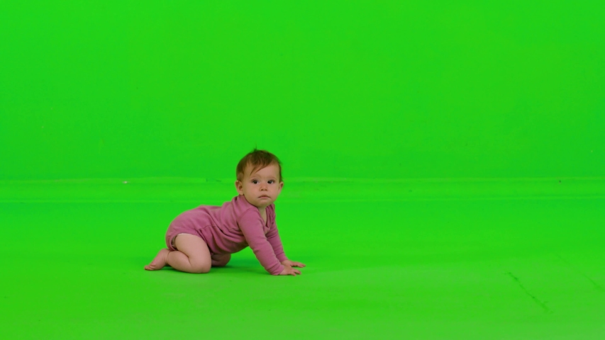 Cute baby girl crawling from side to side, stops in the middle, looks to the camera, laughs and continues, over a green screen. | Shutterstock HD Video #1032151172