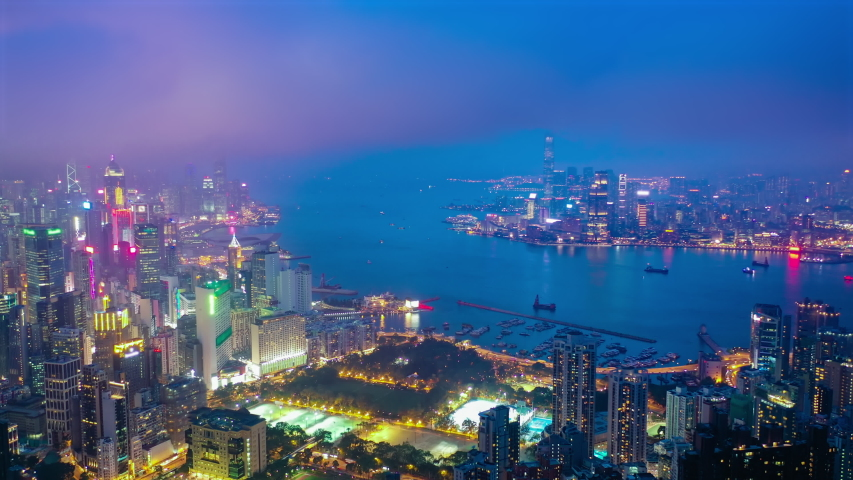 4k aerial hyperlapse video of Victoria Harbour in Hong Kong at night   Shutterstock HD Video #1032351032