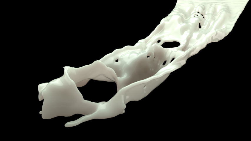 Milk explosion on black background. Slow motion. with alpha matte. 3d rendering   Shutterstock HD Video #1032483662