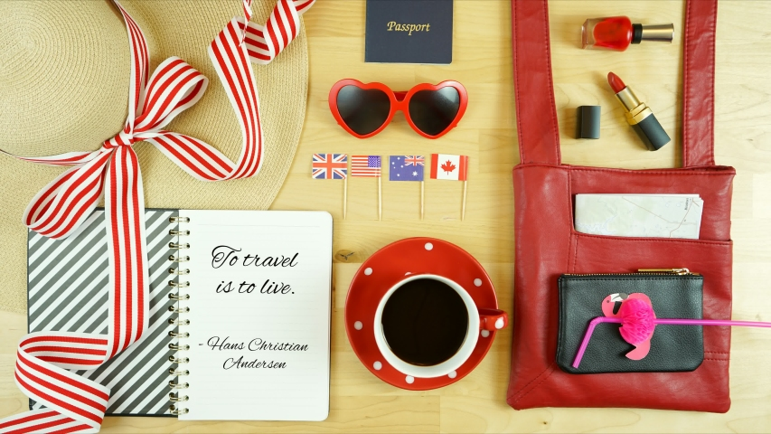 Travel concept overhead stop motion, coffee break planning with accessories and animated text. #1032631142
