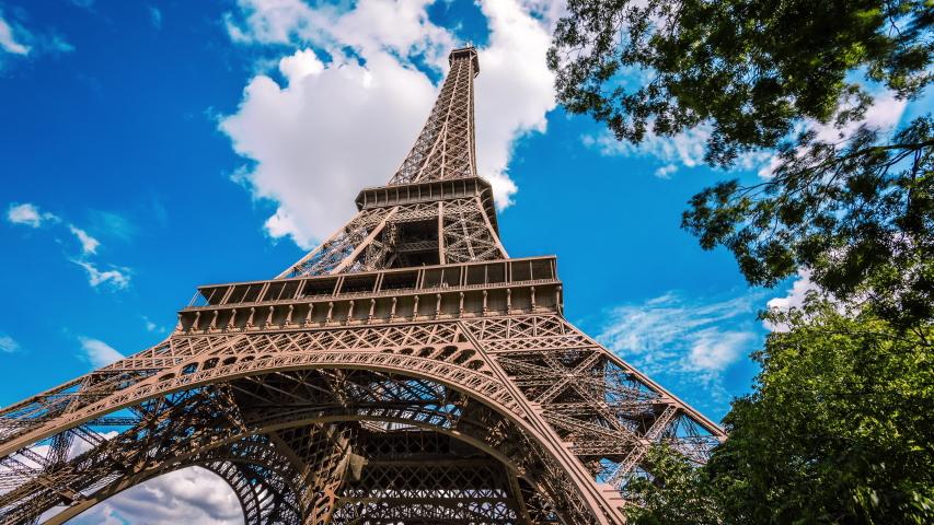 Paris, France - August 5, 2014 : Eiffel tower time lapse #1032912602