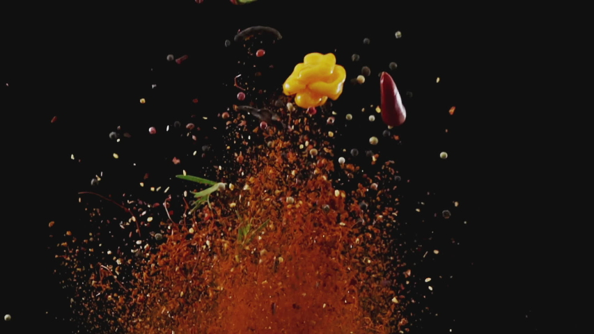 Exotic Spices  Flying up and Falling down in Slow Motion #1033018442