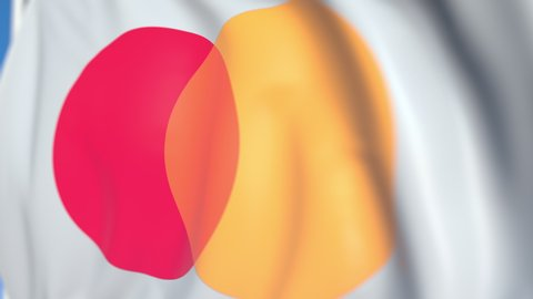 Flag with Mastercard Incorporated logo, close-up. Conceptual editorial 3D animation