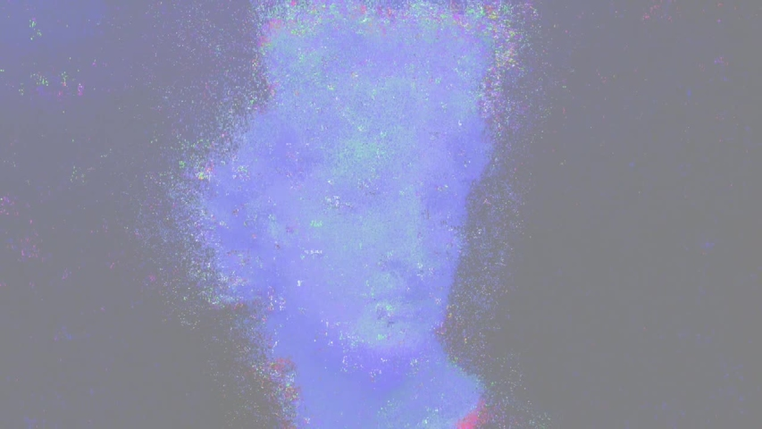 Apollo bust. Digital pixel noise glitch art effect. Retro futurism 80s 90s dynamic wave style. Video signal damage with tv noise and old screen interference. Retro wave, synth wave theme. | Shutterstock HD Video #1033051622