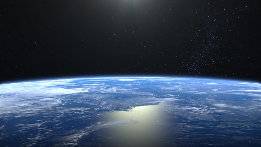 Earth from space. The camera flies away from the Earth. Stars twinkle. 4K. Realistic atmosphere. 3D Volumetric clouds. No sun in the frame. | Shutterstock HD Video #1033059212