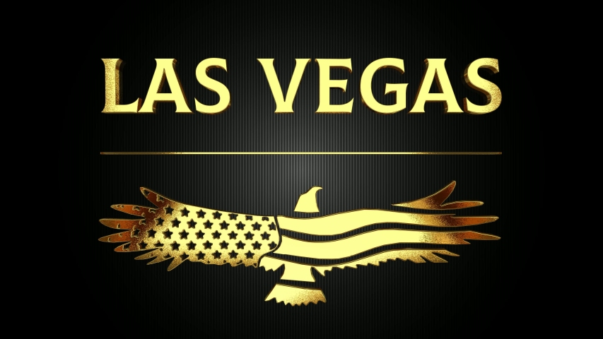 Intro - Las Vegas with USA Eagle Logo in Gold | Shutterstock HD Video #1033182992
