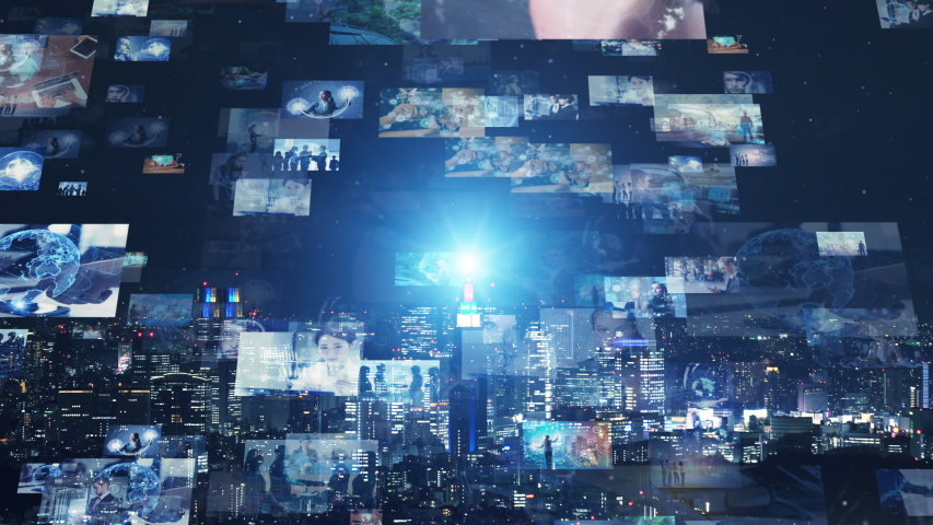 Screens of multimedia concept. Social media. Streaming video. | Shutterstock HD Video #1033197872