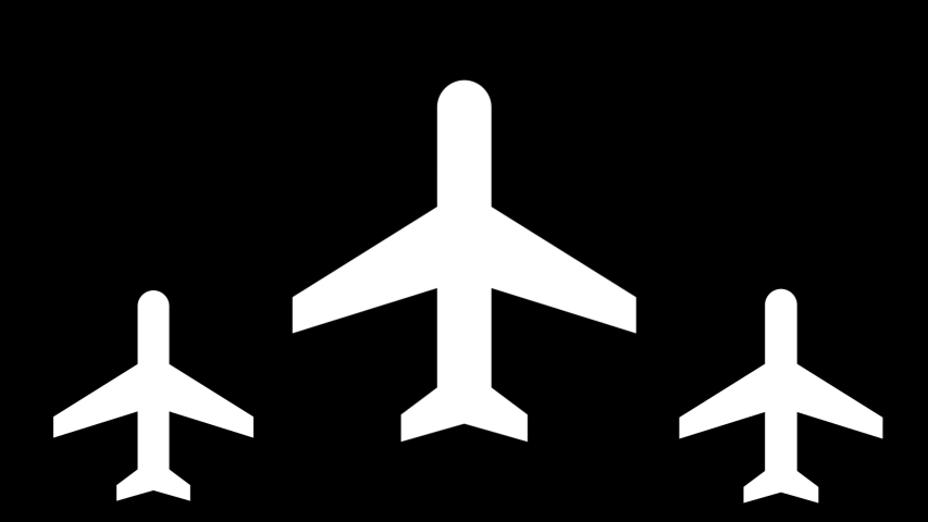 Abstract animation of airplanes-shaped objects synchronically flying above the white stripes on the black background. Animation. White and black animation of air transport.   Shutterstock HD Video #1033240052